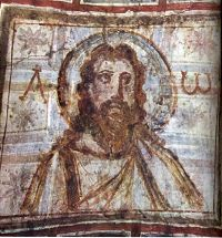 Christ as alpha and omega, from 3rd century catacomb